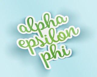 Alpha Epsilon Phi Watercolor Script Sticker Sticker