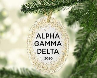 Alpha Gamma Delta Gold Fleck Oval Ornament