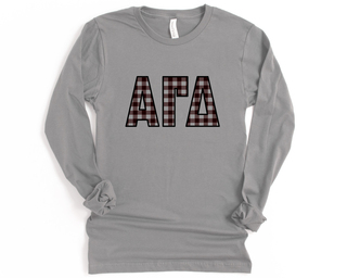 Alpha Gamma Delta Plaid Letters Long Sleeve Tee