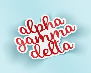 Alpha Gamma Delta Watercolor Script Sticker Sticker