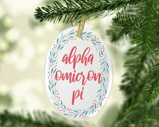 Alpha Omicron Pi Festive Oval Ornament
