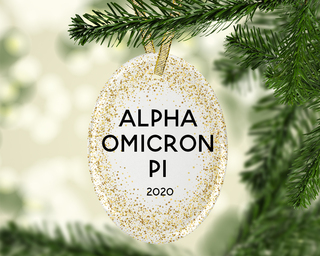 Alpha Omicron Pi Gold Fleck Oval Ornament