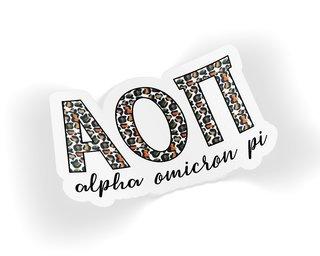 Alpha Omicron Pi Leopard Sticker