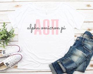 Alpha Omicron Pi Letters Script Flowy Tee