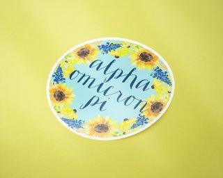 Alpha Omicron Pi Sunflower Sticker