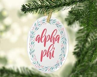 Alpha Phi Festive Oval Ornament