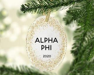Alpha Phi Gold Fleck Oval Ornament