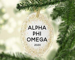 Alpha Phi Omega Gold Fleck Oval Ornament