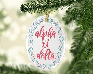 Alpha Xi Delta Festive Oval Ornament