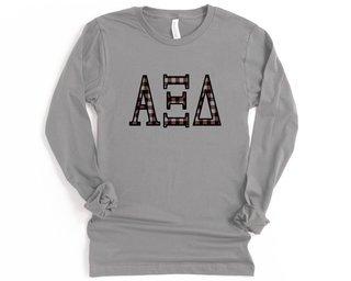 Alpha Xi Delta Plaid Letters Long Sleeve Tee