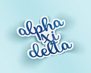 Alpha Xi Delta Watercolor Script Sticker Sticker