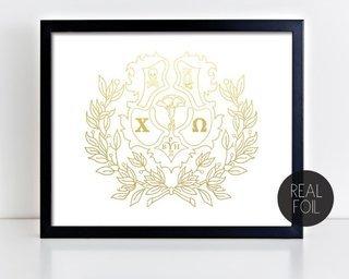 Chi Omega Crest - Shield Foil Print