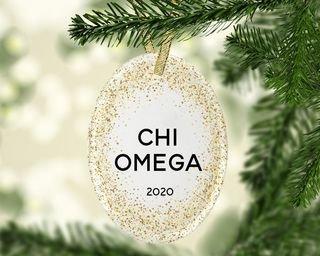 Chi Omega Gold Fleck Oval Ornament