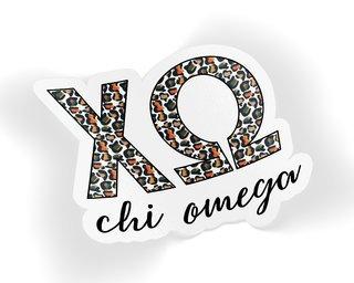 Chi Omega Leopard Sticker