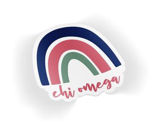 Chi Omega Rainbow Sticker