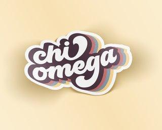 Chi Omega Retro Sticker
