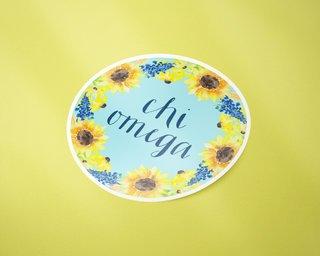 Chi Omega Sunflower Sticker