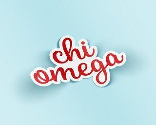 Chi Omega Watercolor Script Sticker Sticker