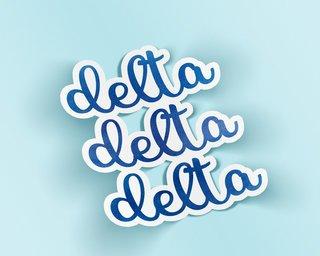 Delta Delta Delta Watercolor Script Sticker Sticker