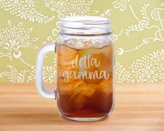 Delta Gamma Script Mason Jar Mug