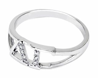 Delta Gamma Sterling Silver Ring set with Lab-Created Diamonds