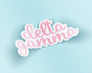 Delta Gamma Watercolor Script Sticker Sticker