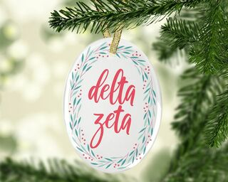Delta Zeta Festive Oval Ornament