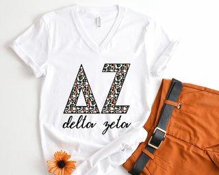 Delta Zeta Leopard V-Neck Tee