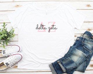 Delta Zeta Letters Script Flowy Tee