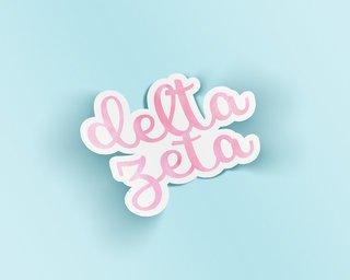 Delta Zeta Watercolor Script Sticker Sticker