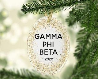 Gamma Phi Beta Gold Fleck Oval Ornament
