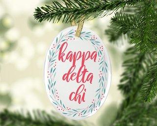 Kappa Delta Chi Festive Oval Ornament
