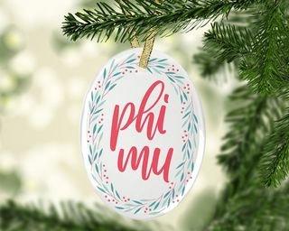 Phi Mu Festive Oval Ornament
