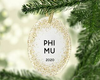 Phi Mu Gold Fleck Oval Ornament