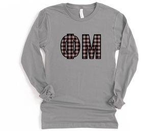 Phi Mu Plaid Letters Long Sleeve Tee