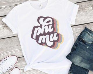 Phi Mu Retro Script Tee