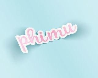 Phi Mu Watercolor Script Sticker Sticker