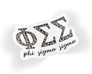 Phi Sigma Sigma Leopard Sticker