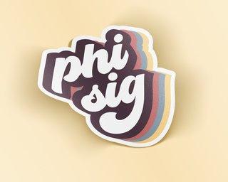 Phi Sigma Sigma Retro Sticker