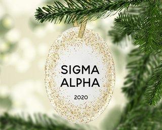 Sigma Alpha Gold Fleck Oval Ornament
