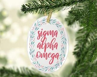 Sigma Alpha Omega Festive Oval Ornament