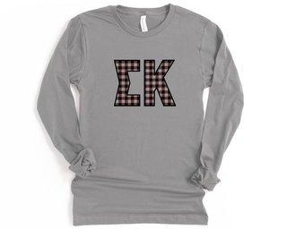 Sigma Kappa Plaid Letters Long Sleeve Tee