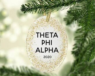 Theta Phi Alpha Gold Fleck Oval Ornament