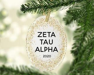 Zeta Tau Alpha Gold Fleck Oval Ornament