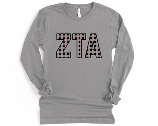 Zeta Tau Alpha Plaid Letters Long Sleeve Tee