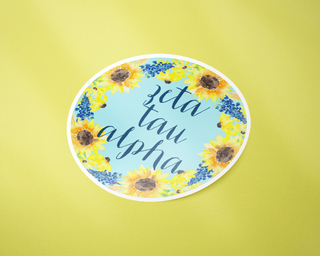 Zeta Tau Alpha Sunflower Sticker