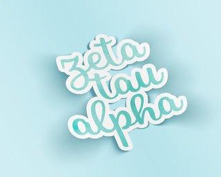 Zeta Tau Alpha Watercolor Script Sticker Sticker