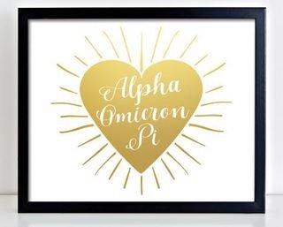 Alpha Omicron Pi Heart Burst Foil Print
