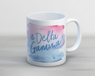 Delta Gamma Watercolor Script Coffee Mug