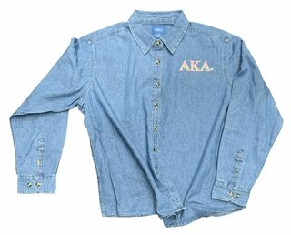 DISCOUNT-Alpha Kappa Alpha Denim Shirt - Signature Emblem